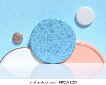 blue wall white floor group of soft pink/orange white geometric shape abstract scene minimal 3d rendering