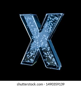 Blue water alphabet with bubbles inside isolated on black background (Letter X). Crystal clear font. 3D rendering. For advertisement, party, event, placard, celebration, announcement, sale, promotion.
