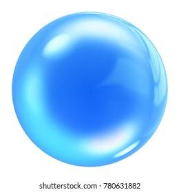 Blue Water Bubble icon, 3d render