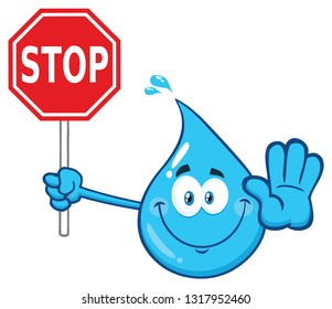 Blue Water Drop Cartoon Character Holding A Stop Sign. Raster Illustration Isolated On Transparent Background