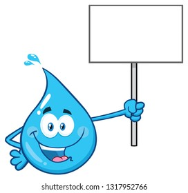 Blue Water Drop Cartoon Character Holding Up A Blank Sign. Raster Illustration Isolated On Transparent Background