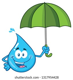 Blue Water Drop Cartoon Character Holding An Umbrella. Raster Illustration Isolated On Transparent Background