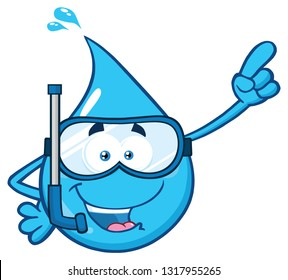 Blue Water Drop Cartoon Character With Snorkel Pointing. Raster Illustration Isolated On Transparent Background