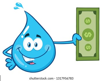 Blue Water Drop Cartoon Character Holding A Dollar Bill. Raster Illustration Isolated On Transparent Background
