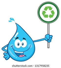 Blue Water Drop Cartoon Character Holding A Recycling Sign. Raster Illustration Isolated On Transparent Background