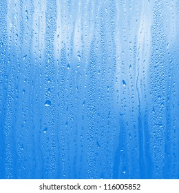 blue water on glass