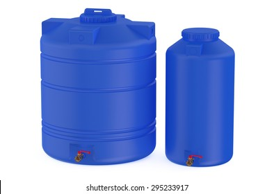 blue water tanks isolated on white background
