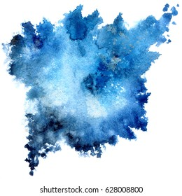 Blue watercolor abstract textures with gold