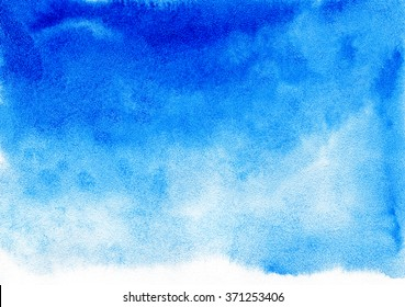 Blue watercolor background for textures and backgrounds.