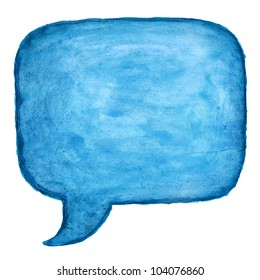 Blue watercolor blank speech bubble dialog square shape on white background