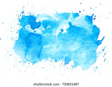 blue watercolor brush stains bright background.artistic hand painted splash