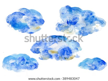 Blue Watercolor Clouds Sky Watercolor Theme Stock Illustration