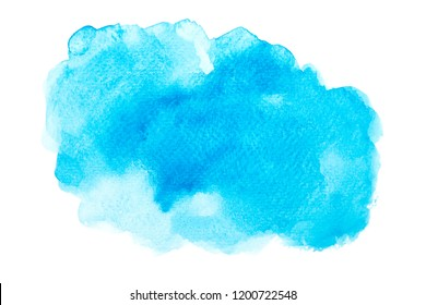 blue watercolor with colorful shades brush paint on paper background