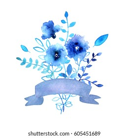 Blue watercolor floral bouquet with flowers, leaves, branches, ribbons.