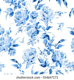 Blue watercolor floral seamless pattern in a la prima style, watercolor roses - flowers, twigs, leaves, buds. Hand painted vintage floral illustration isolated on white background.