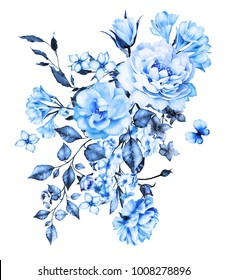 blue watercolor flowers. floral illustration, Leaf and buds. Botanic composition for wedding or  greeting card.  branch of flowers - roses, isolated on white background