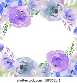 Blue Watercolor Flowers Wreath Background