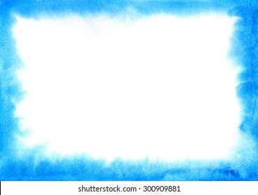Blue watercolor frame with soft edges. For design of your site, cards or invitations. On the topic of the sea, recreation, summer, sky. watercolour ombre hand painted texture
