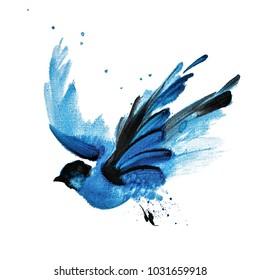 Blue watercolor hand drawn flying bird 42