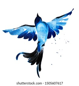 Blue watercolor hand drawn flying bird 58