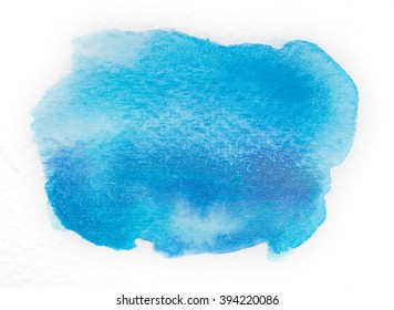 Blue Watercolor Hand Painted Background.