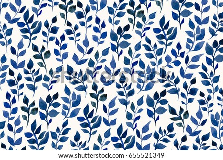 Blue Watercolor Leaves On A White Background Desktop Wallpapers