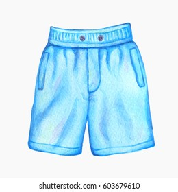 c6e7a33d1f88c Blue Watercolor Men's swim trunks isolated on white . Male boxer isolated  on white. Hand