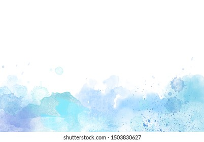 Blue Watercolor paint border isolated on white, big size