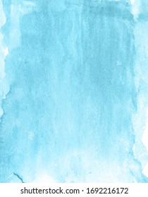 Blue watercolor paint paper background and texnure.