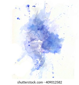 Blue watercolor paint splash