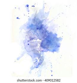 Blue watercolor paint splash