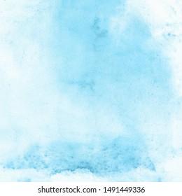 Blue watercolor pastel paint background texture.