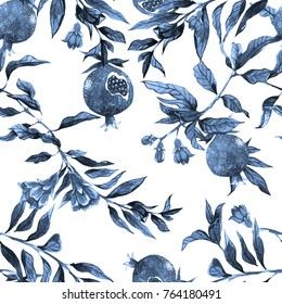 Blue watercolor pomegranate fruit, flowers, branches with leaves pattern on a white background. Illustration.