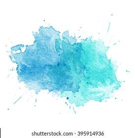 Blue Watercolor splatters. illustration.