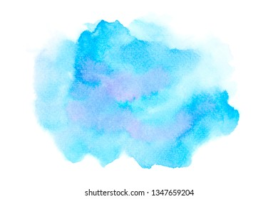 blue watercolor stain with color shades paint stroke background splash texture