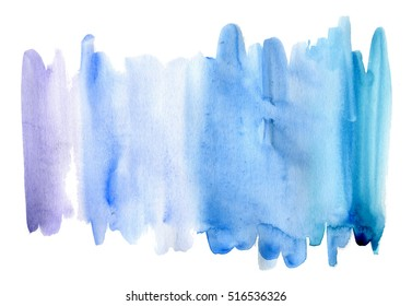 Blue watercolor stain. Isolated