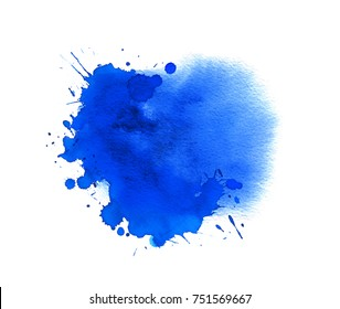 Blue watercolor stain. Pattern with aquarelle spray drops, splashes and brush strokes
