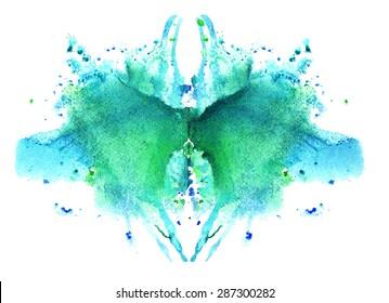 blue watercolor symmetrical Rorschach blot on a white background