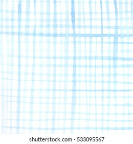 Blue watercolor texture. Hand drawn checkerboard background. Watercolour gradient.