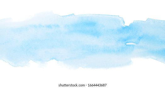 Blue watercolor texture light with gradient watercolor transitions.. Stripe watercolor on a white background horizontal background.