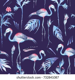 Blue Watercolor Tropical Pattern Seamless texture with exotic flowers and flamingo birds on indigo background
