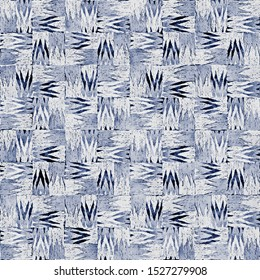 Blue Watercolor-Dyed Canvas Effect Textured Irregular Houndstooth Check. Seamless Pattern.