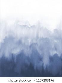 Blue watercolour blot. Watercolour blur on white.