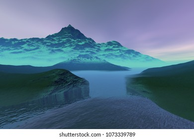 Blue waters, 3D rendering, a polar landscape, grass on the ground, rocks, snowy mountains and a cloudy sky.