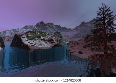 Blue waters, 3d rendering, a snowy landscape, beautiful lake and a cloudy sky.
