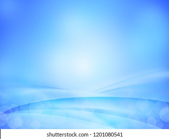 Blue wave abstract background with bokeh.