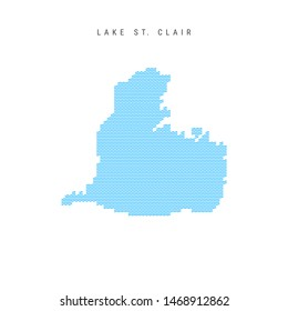 Blue Wave Pattern Map of Lake St. Clair, One of the Lakes of North America. Wavy Line Pattern Silhouette of Lake St. Clair.