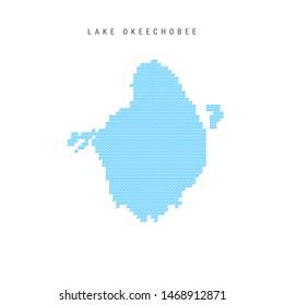 Blue Wave Pattern Map of Lake Okeechobee, One of the Lakes of North America. Wavy Line Pattern Silhouette of Lake Okeechobee.