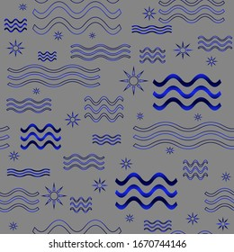Blue waves, sun for pattern seamless, material, paper, wallpaper, textil, gray background