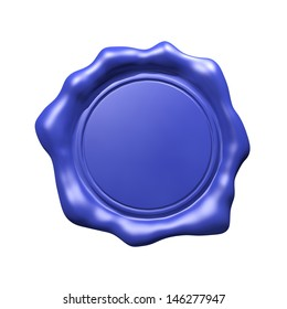 Blue Wax Seal - Isolated